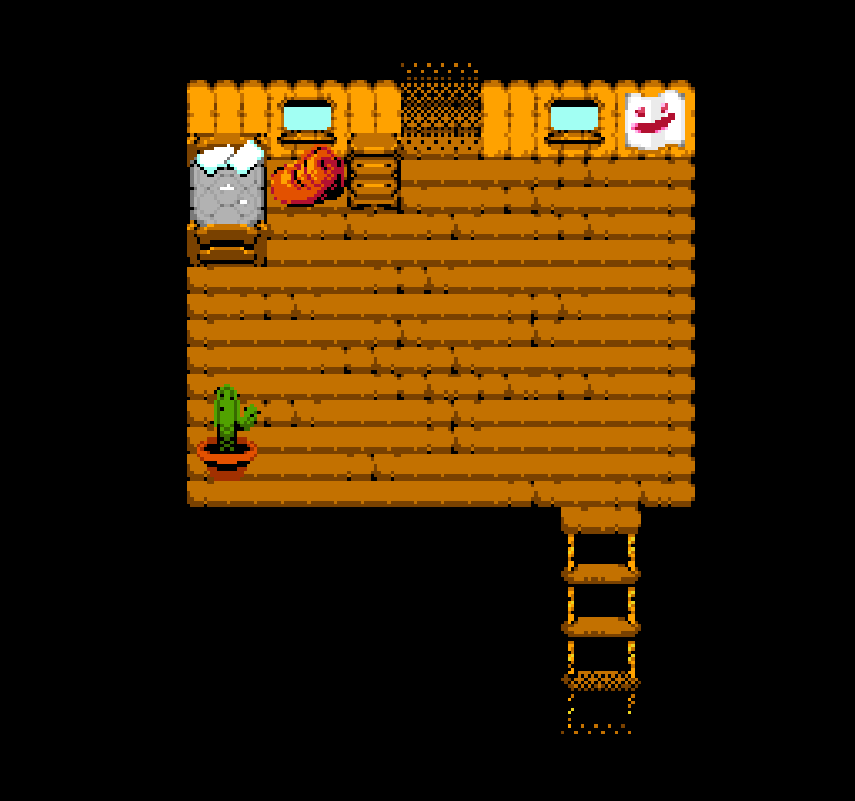 A map of a treehouse. There's a bed with a torn mattress, a blanket on the floor, and a potted cactus in the corner.